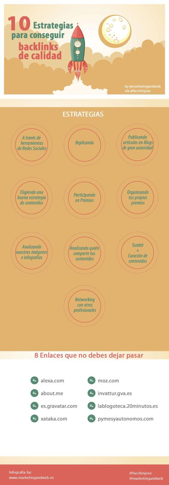 10 Estrategias para conseguir enlaces o backlinks de calidad by @Marketing and Web @facchinjose