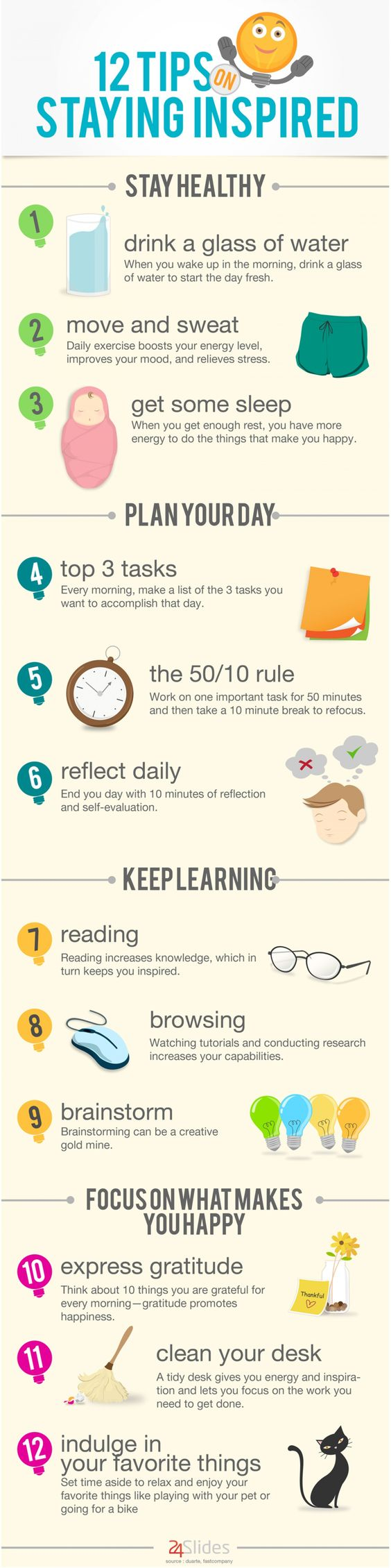 12 Tips On Staying Inspired - #infographic