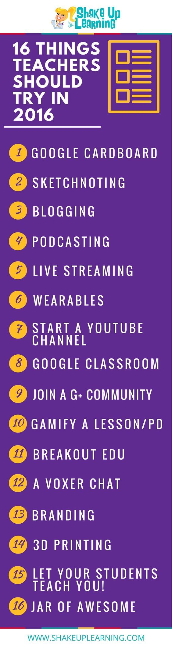 16 Things Teachers Should Try in 2016 [infographic] #GoogleEI #GoogleET