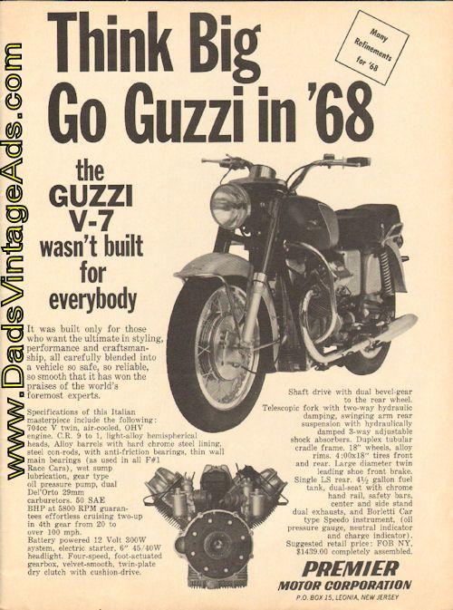 "1968 Vintage Moto Guzzi V-7 Ad – ""Think Big, Go Guzzi in '68″"