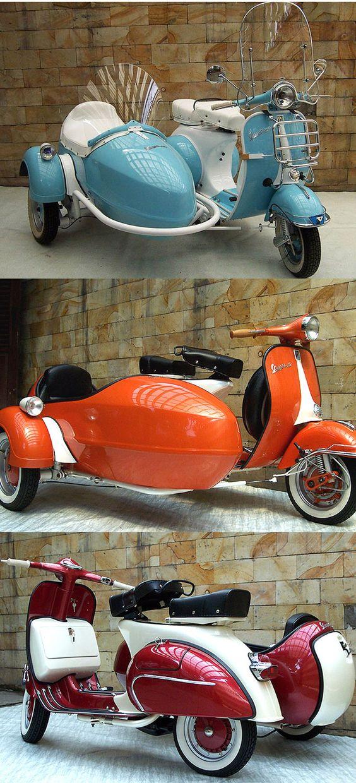 1970's #Vespa with sidecar #scooter #eatsleepride