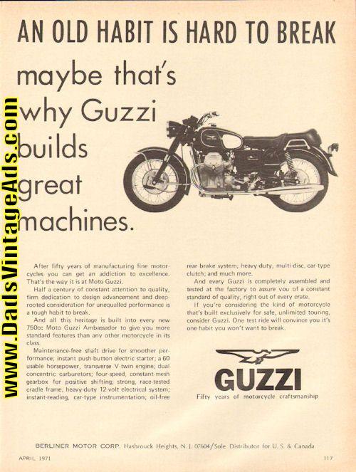 1971 Moto Guzzi 750 Ambassador Motorcycle Ad
