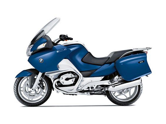 2012 BMW R 1200 RT touring bike w/ panniers. In blue.