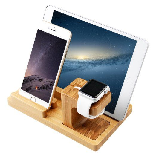 [3 in 1] Apple Watch Stand & iPhone Stand & iPad Stand, [Charging Dock] Smooth Natural Bamboo Body Desk Charging Station, Apple Watch Charging Stand Cradle Holder for Apple iWatch 38mm/42mm, Comfortable Viewing Angle for iPhone 5s, 6, 6 Plus, iPad Air, iPad Air 2, iPad mini (MM607)