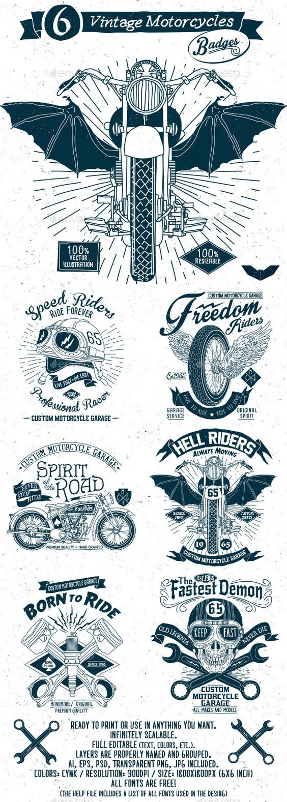 6 Vintage Motorcycles Badges #design #badges Download: