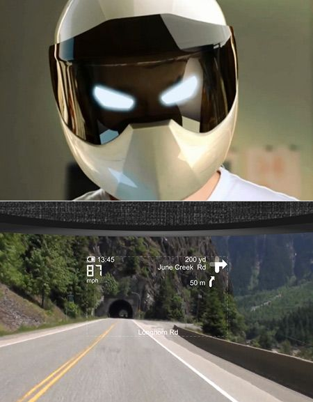 a helmet with an integrated navigation system. It's voice-activated, powered by Google Android and when you're riding, it shows a Burnout: Paradise-esque