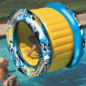 Aqua Roller inflatable swimming pool float. Unique pool toy is a giant wheel that can be rolled on the swimming pool water surface for hours of fun. Swimming pool toys and floats from In The Swim.