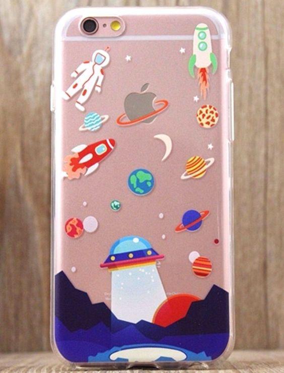 Astronaut UFO The Space Rocket CUTE iPhone 5 5S 6 6S plus Soft phone case