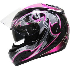 Black and pink motorcycle helmet. I love my pink helmet but this one is awesome!