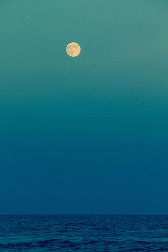Blue | Blue sky and sea with moon