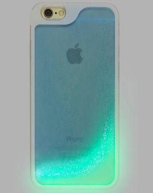 Blue Glow in the Dark Glitter Waterfall Phone Case