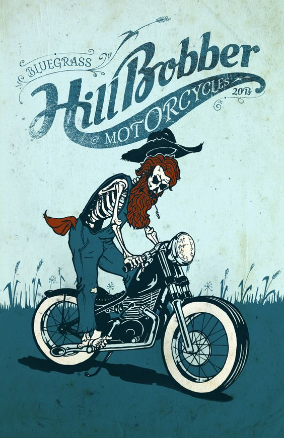 Bluegrass Hill Bobber Motorcycles Poster Design By -