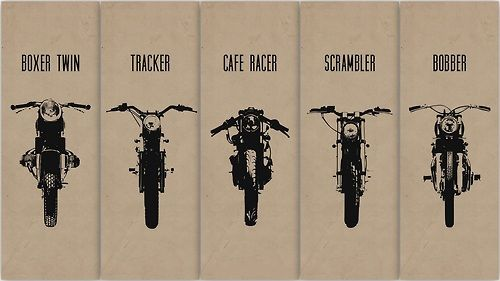 Boxer Twin; Tracker; Cafe Racer; Scrambler; Bobber.