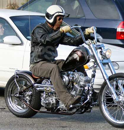 Brad Pitt on a Indian Larry Custom.