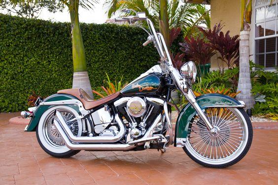custom harley davidson motorcycles   custom 1993 softail heritage choppers harley davidson motorcycles - love the spokes