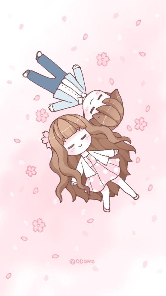 Cute love couple! iPhone wallpapers cartoon art. Tap to see more Korean Cartoon Artists' Wallpapers! - @mobile9 kawaii, chibi