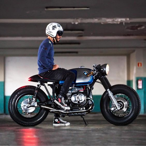 @dcoedel and his custom BMW R100 Cafe Racer.  - CROIG