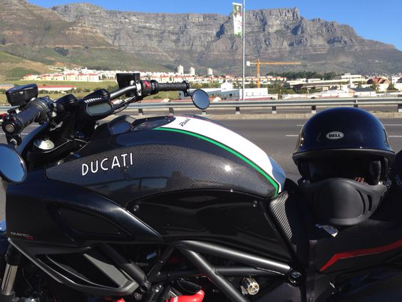 Diavel in the shade of the mountain