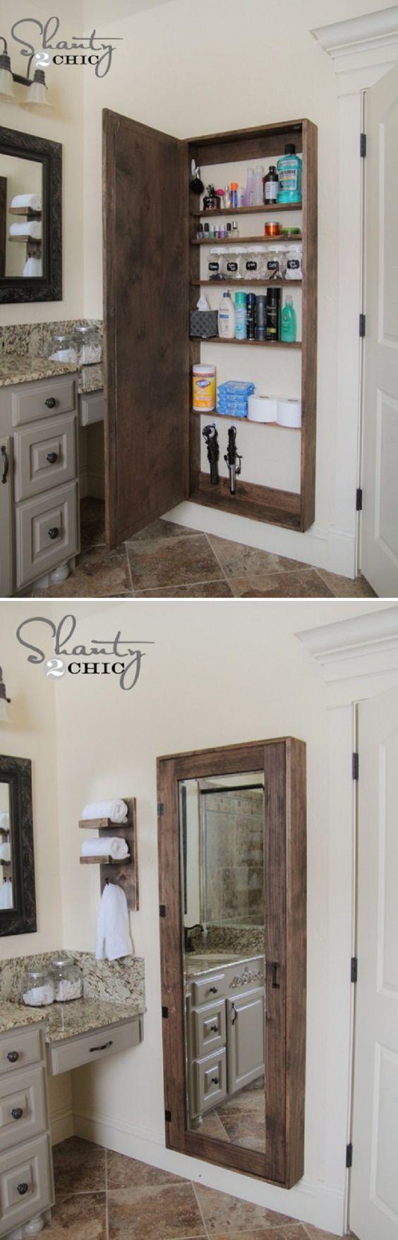 DIY Bathroom mirror storage case that holds everything. - 17 Repurposed DIY Bathroom Storage Solutions | GleamItUp