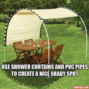 DIY idea: Create your own shade using shower curtains and pvc pipes?