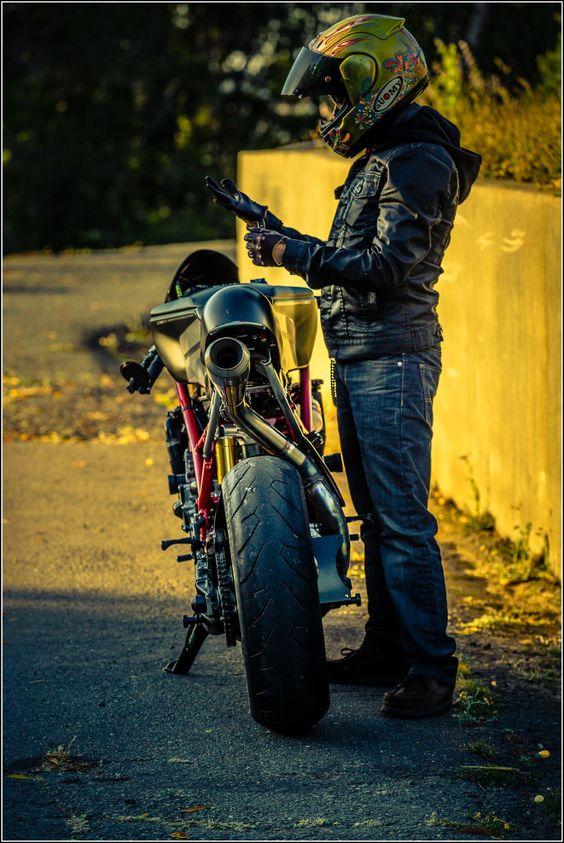 "Ducati 749R cafe racer ""Scarlett"" by Ezikiel J #motorcycles #caferacer #motos  "