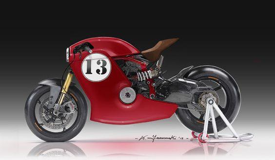 Ducati Cafe Racer Design by Kenyamasaki #motorcyclesdesign #diseñodemotos |