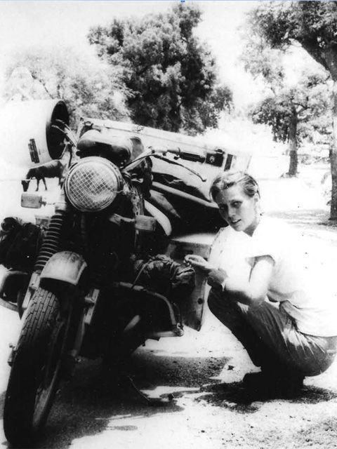 Eslpeth Beard, first Englishwoman to ride a motorcycle around the world
