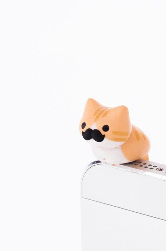 For a pawsitively adorable phone — the mustache edition of the Niconico Nekomura cat jack plug