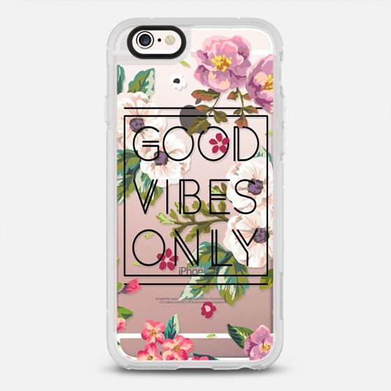 Good Vibes Only Floral // Black & Transparent - protective iPhone 6 phone case in Clear and Clear by @Samantha Ranlet #floralprint | @Casetify