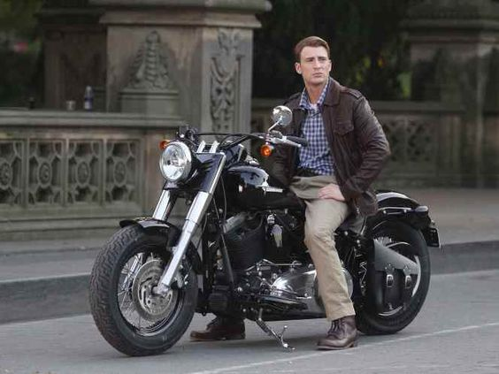 Harley-Davidson supplied a mock-1940s bike for 'Captain America' but here the movie's star Chris Evans is on one of the company's modern Softail Slim models powered by a 1688cc V-twin.