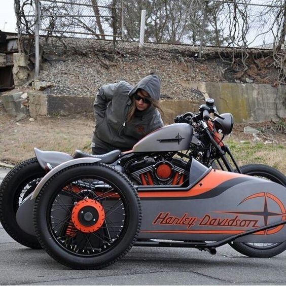 Harley Sportster custom with sidecar