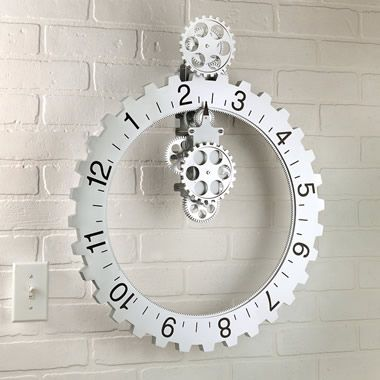 I have one of these.  It's very cool.  The big gear on the outside turns so the time is always pointing straight  Schlemmer
