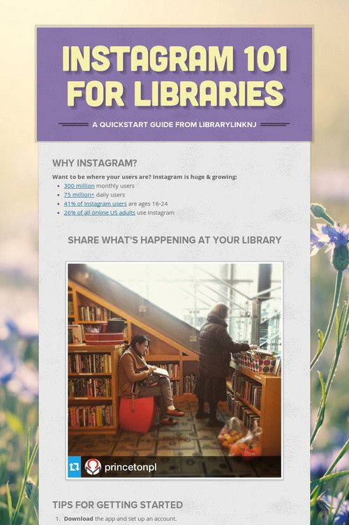 #Instagram 101 for Libraries - a quickstart guide from LibraryLinkNJ