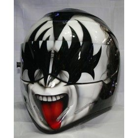 Kiss custom airbrush paint, race, racing, drifting, motorcycle helmet. , MBK Bangkok, Thailand