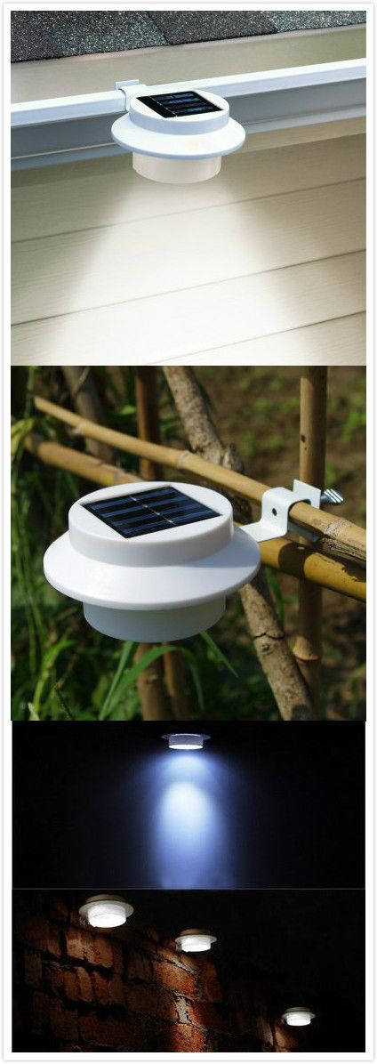 LED Solar Gutter Safety Light Outdoor Garden Yard Wall Pathway Lamp#garden#