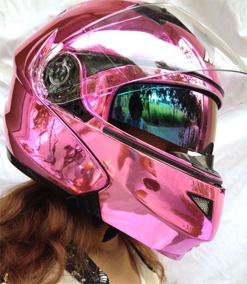 MASEI 815 DOT Motorcycle Helmet CHROME PINK size M L XL