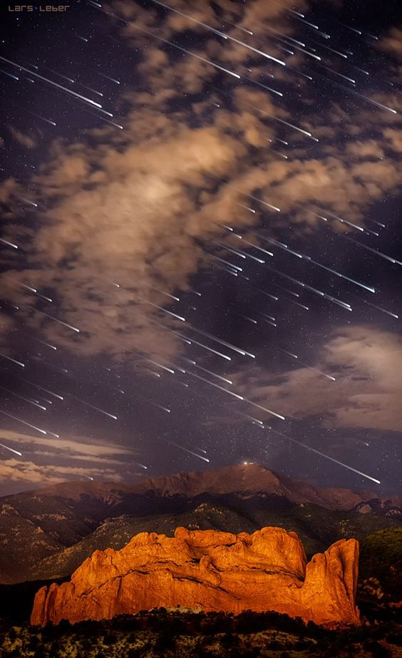 Meteor shower over Pikes Peak, Colorado / Love Your Mother ♥