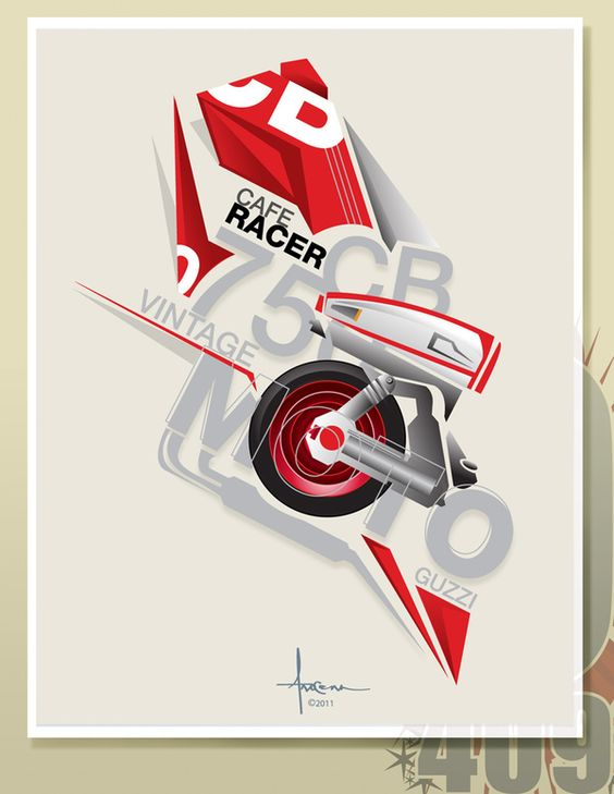 Moto Guzzi - A vector illustration by Orlando Arocena, via Behance