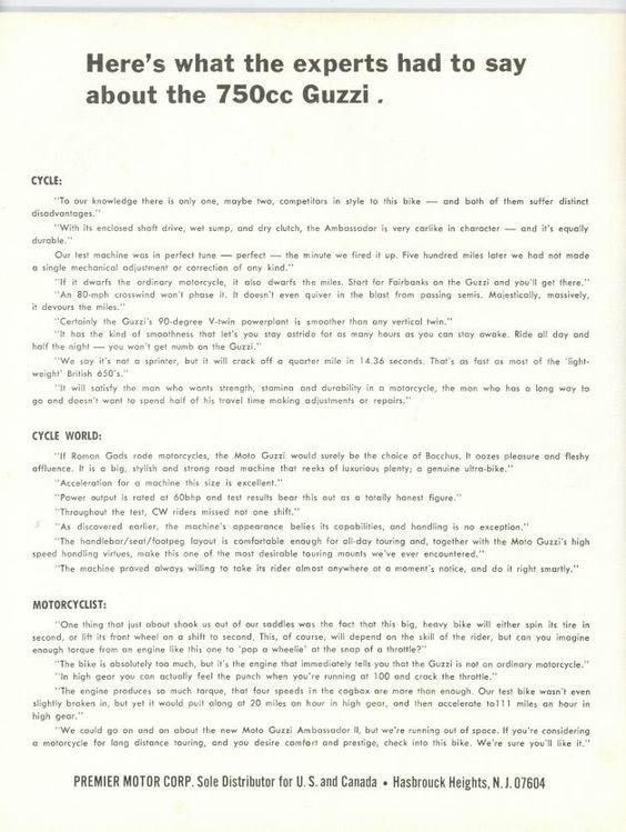 Moto Guzzi Ambassador Factory Brochure, Page 3 of 4.