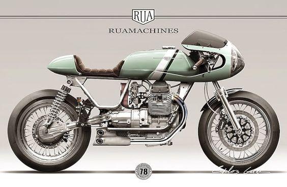 Moto Guzzi Cafe Racer design RUA MACHINES - Capelos Garage #motorcyclesdesign #diseñodemotos |