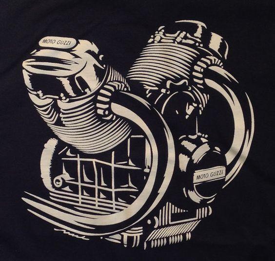 Moto Guzzi engine motor Tshirt V7 LeMans Eldorado 850T by nealart