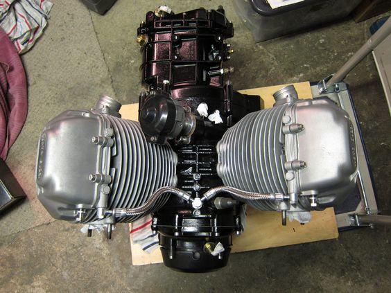 Moto Guzzi Le Mans 850 engine rebuilt, ready to go into it's Tonti frame.