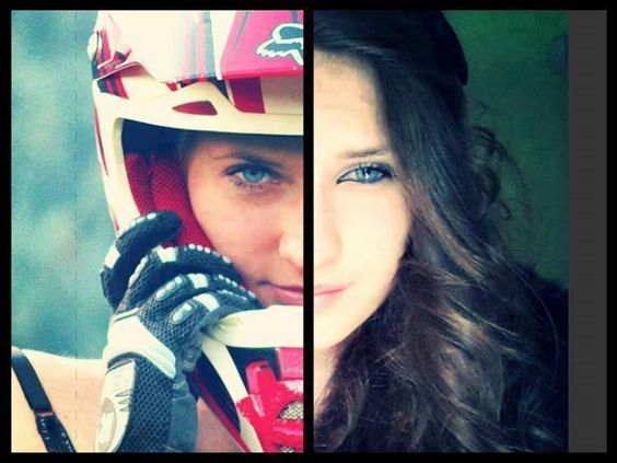 Motocross girl - Dirt Doll Baby - Great image showing the two sides