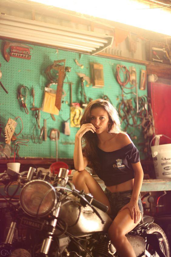 Motorcycle Girl 057 Jackie by Garrett Meyers ~ Return of the Cafe Racers