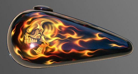 motorcycles with skulls and flames   FireSkullTank(TFTM)