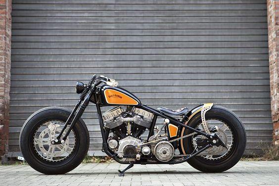 Nice custom Harley Davidson Panhead #harley #black #orange