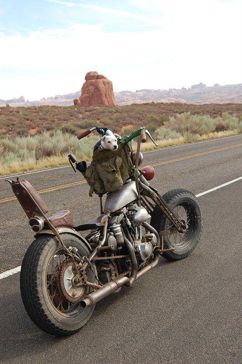 Nice old custom bike on an open