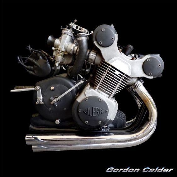 (No. 117 ~ CLASSIC 1957 GILERA 500cc RACER ENGINE, by Gordon Calder, via Flickr, 3,000,000 Views!)