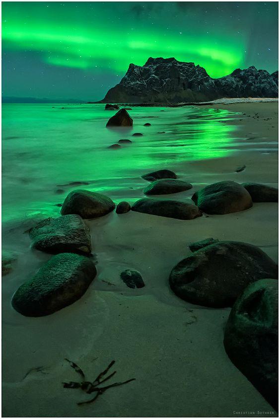 Northern Lights On The Beach, Uttakleiv, Lofoten, Norway