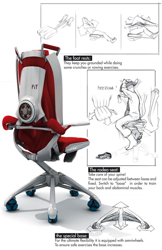 Office chair with gym, by Benjamin Cselley.
